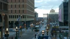 Minneapolis Downtown train from skywalk Stock Footage
