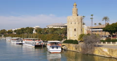 Seville river tourist boats day light 4k spain Stock Footage