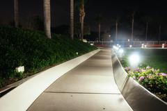 Path at the Church of Jesus Christ of Latter-Day Saints Temple at night - stock photo