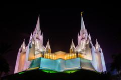 The Church of Jesus Christ of Latter-Day Saints Temple at night in San Diego, Stock Photos