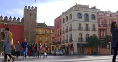 Sunny evening entrance in royal castle of seville 4k spain Stock Footage