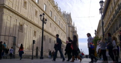 Seville day light tourist traffic near cathedral 4k spain Stock Footage