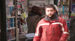 Stock Video Footage of Newsstand Revenue Plunging Bucharest Romania