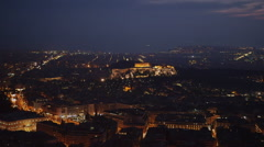 Acropolis at night real time wide view Athens Stock Footage