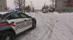 Car accident crash in winter snow storm in very cold weather Stock Footage