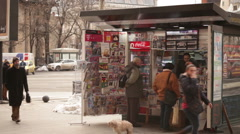 Typical News Stand Bucharest Romania Stock Footage