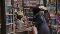 Plunging Newsstand Revenue Bucharest Romania - stock footage
