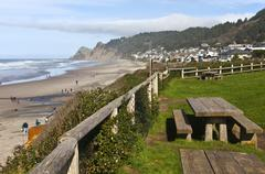 Lincoln City township near the coast Oregon. - stock photo