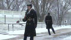 Guarding Tomb of the Unknown Soldier Arlington National Cemetery in Winter Stock Footage