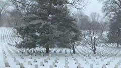 Driving by Arlington National Cemetery in snow Stock Footage