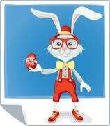 Stock Illustration of Hipster Easter Rabbit Vector Cartoon