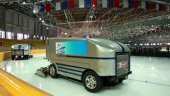 Special car polishes the ice skating rink. Stock Footage