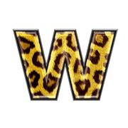 3d letter with panther skin texture - W - stock photo