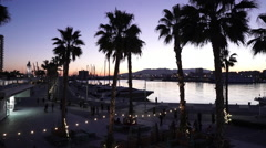 Port Malaga by night Stock Footage