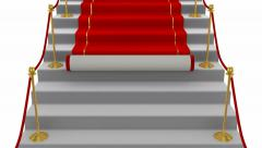 Red Carpet, stairs, White background Stock Footage