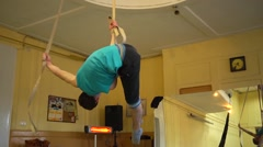 Stock Video Footage of The guy trains circus show acrobatics