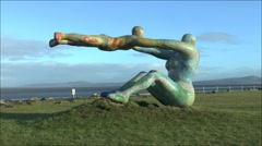 The Venus & Cupid sculpture on the seafront at Morecambe, Lancashire, UK. - stock footage