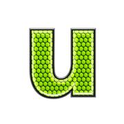 Abstract 3d letter with reptile skin texture - U - stock photo