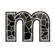 Abstract 3d letter with stone wall texture - M - stock photo