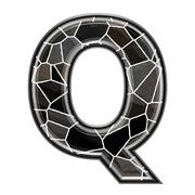 Abstract 3d letter with stone wall texture - Q - stock photo