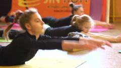Young people hard training of circus acrobatic troupe Stock Footage