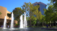 Fountains dance in front of a corporate office complex in San Jose, California. Stock Footage