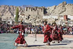 Unidentified artists in Ladakhi costumes Stock Photos