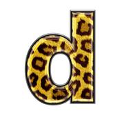3d letter with panther skin texture - D - stock photo