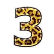 3d digit with panther skin texture - 3 Stock Photos