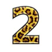 3d digit with panther skin texture - 2 - stock photo