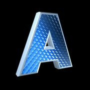 abstract 3d letter with blue pattern texture - A - stock photo