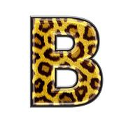 3d letter with panther skin texture - B Stock Photos