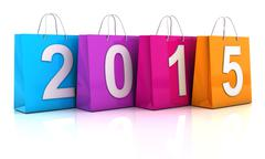 Colourful shopping bags with 2015, 3d render Piirros