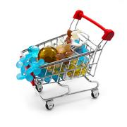 Shopping cart with gemstone beads - stock photo