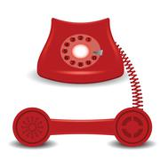 old red phone - stock illustration