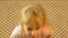 Happy Little Girl Head Shake, Funny Motion Stock Footage
