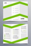 Business trifold brochure template - green and white sleek modern design - stock illustration