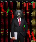 Stock Illustration of bear market, stock investment concept