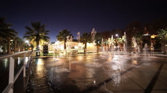 Beautiful fountains in Malaga by night Stock Footage