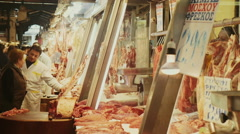Athens Greece central meat and fish market Stock Footage