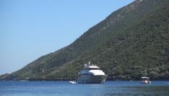 Boats docked, Holiday marina harbor ships and yachts, Mediterranean island bay.  Stock Footage