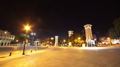 The city of Malaga by night Stock Footage