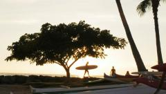 Surfer at sunset Stock Footage