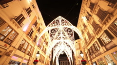 Wide Angle shot of Malaga pedestrian zone by night Stock Footage