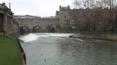 Pulteney bridge and weir Bath Stock Footage