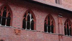 Left pan of the Cloisters of Malbork Castle - Upper Castle Stock Footage