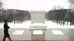 Wide shot Arlington National Cemetery Guard at Tomb of the Unknown Soldier - stock footage