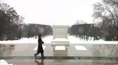 WS Guard at Arlington National Cemetery with snow Stock Footage
