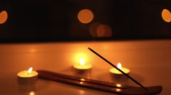 Aromatic sticks with smoke in the dark - stock footage