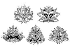 Stock Illustration of Assorted Black and White Gothic Floral Design